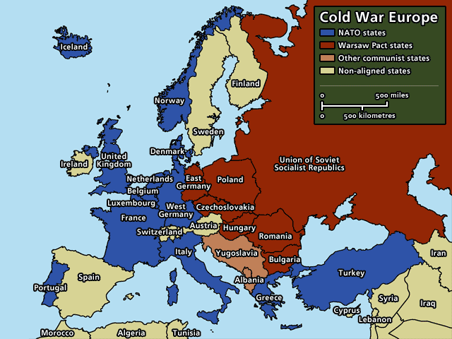 Map of Europe to show the political alignment by 1949-1955