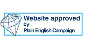 A picture of the Internet Crystal Mark logo, which reads: 'Website approved by Plain English Campaign'.