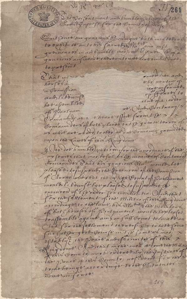SP16.491.117; real state paper, August 15th, 1642