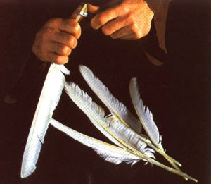 Making a goose feather quill