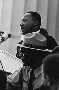 Wikipedia; photo of ML King at the March on Washington, 1963