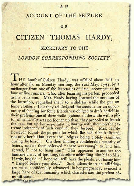 TS 24/3/33; account of arrest of Thomas Hardy, 1794