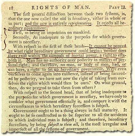TS 24/3/10; extract from 'The Rights of Man' by Thomas Paine, 1792