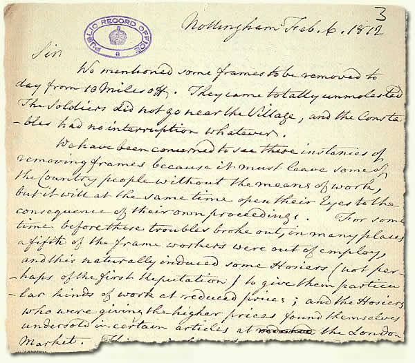HO 42/120; letter from a magistrate describing the situation in Nottingham, 1812