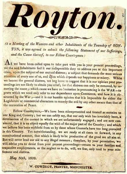 HO 42/95 ; handbill issued by the people of Royton, 1808