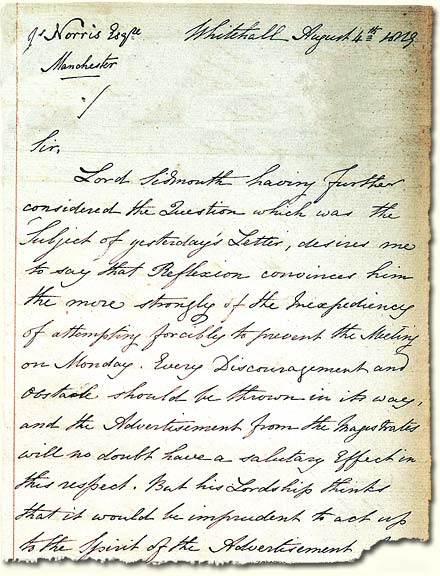 HO 41/4; letter sent to Manchester from the Home Secretary, 1819