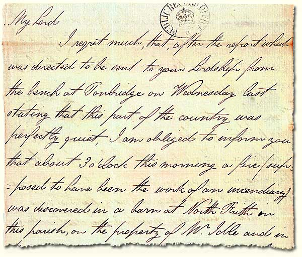 HO 52/8; letter to the Home Office about a suspicious fire, 1830