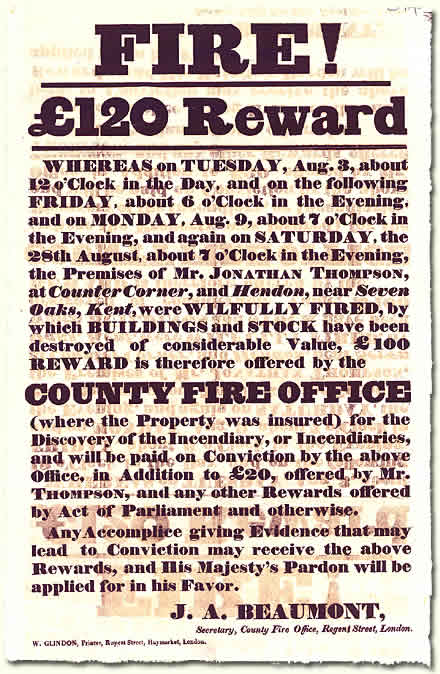 HO 52/8; reward poster from Kent, c.1830