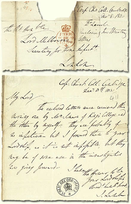HO 52/6: letter about Swing letters, 1830