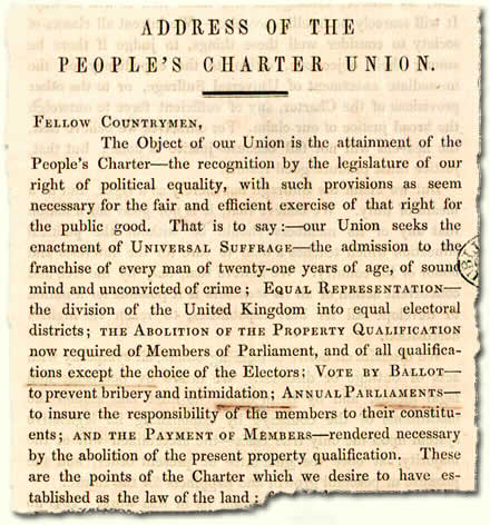 HO 45/2410A pt4; extract from handbook of the People's Charter Union, 1848