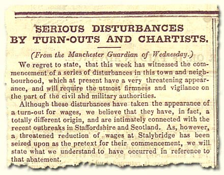 HO 45/249A; article on trouble around Manchester, 1842