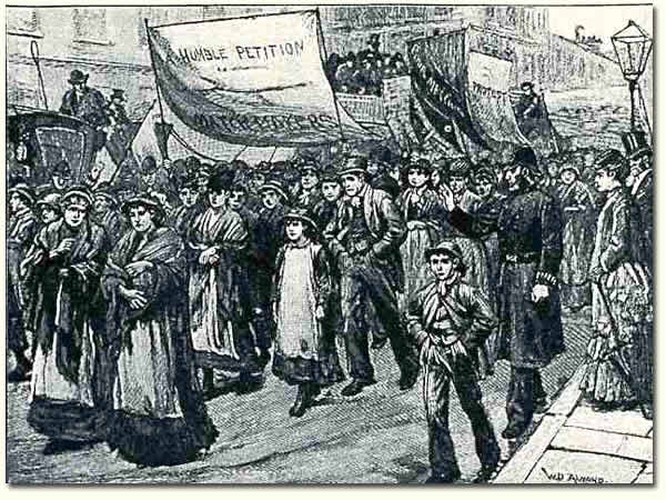 Image of match workers protesting about a tax on matches, 1871
