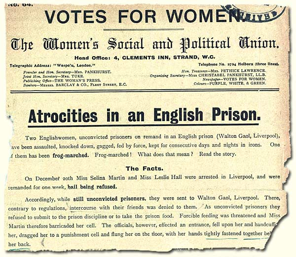 HO 144/1052/187234; leaflet describing force-feeding of suffragettes, 1909
