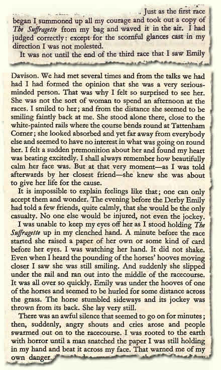Mary Raleigh Richardson's 1953 autobiography; extract on what happened to Emily Davison