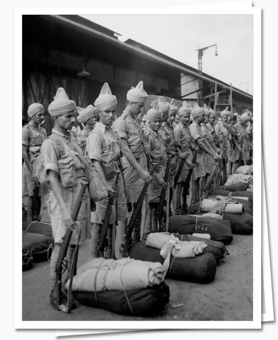 Indian troops arriving in Singapore November 1941; IWM FE 218