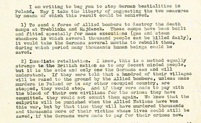 Letter from a Polish woman to Churchill, 1943; FO 371/34550
