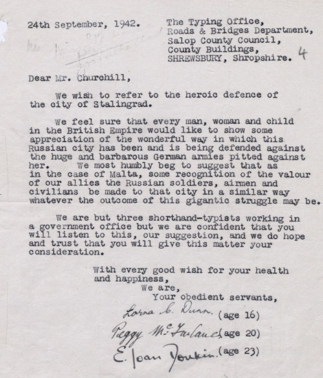 Letter to the Prime Minister, September 1942; FO 371/33035