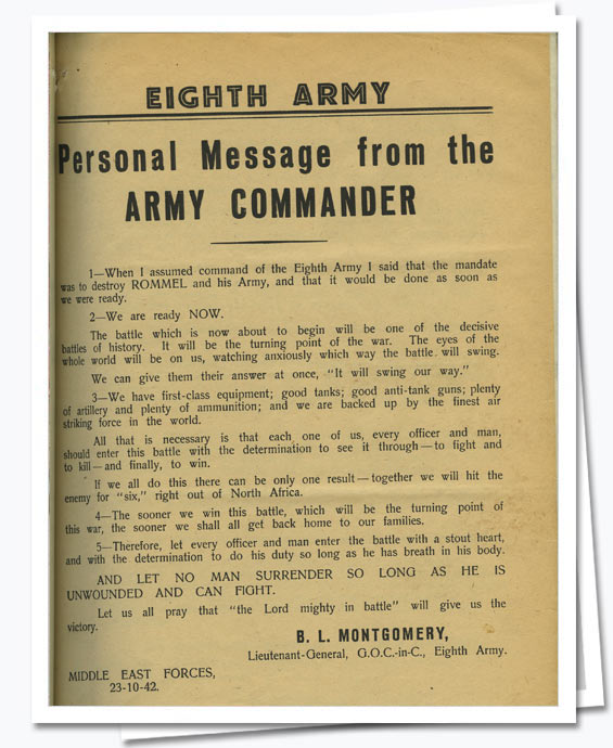 Notice sent out to 8th Army; WO 214/19