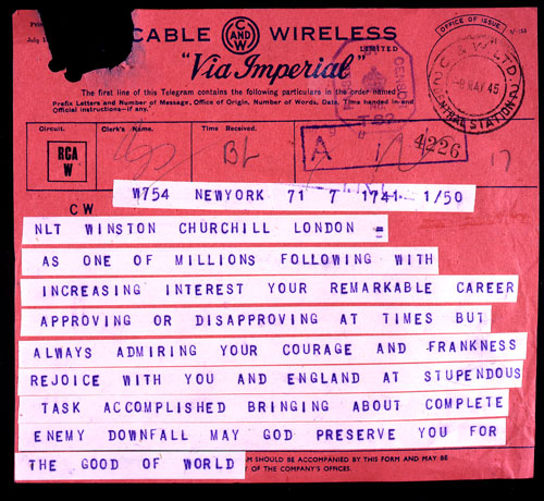 Telegram sent to Prime Minister Churchill, 1945; FO 371/44647