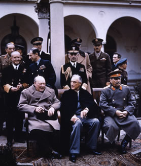 Churchill, Roosevelt and Stalin at Yalta (INF 14/447)