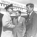 President John F Kennedy with vice-president Lyndon B Johnson, visiting US Army Ordnance Missile Command, September 1962. Catalogue reference: DEFE 13/323