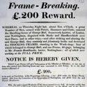 Poster advertising a reward for information leading to the arrest of frame-breakers at Nottingham, 1812. Catalogue reference: HO 42/1196