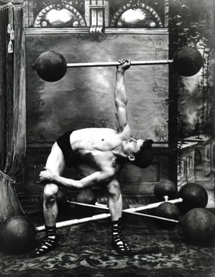 Weightlifter with barbell, 1907. Catalogue reference: COPY 1/507 (99)