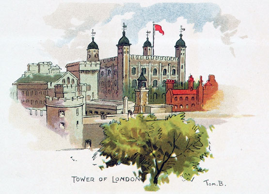 Tower of London illustration by Tom Browne, 1903. Catalogue reference: COPY1/208A (182d)