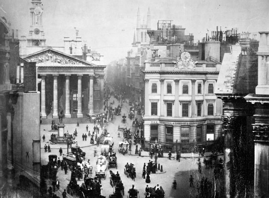 Royal Exchange and Cornhill, London, 1877. Catalogue reference: COPY1/37 f380