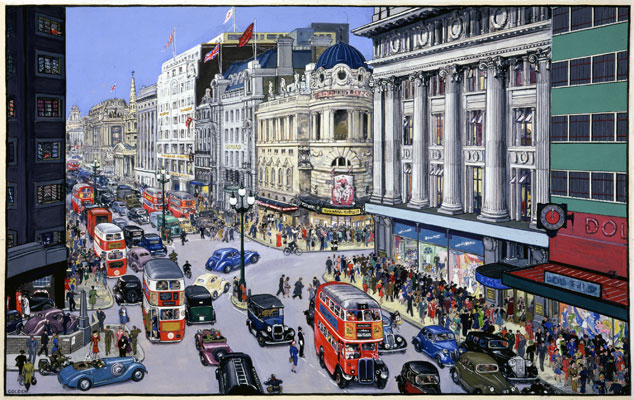 Oxford Street, by artist Grace Golden, 1939-1946. Catalogue reference: INF3/1738