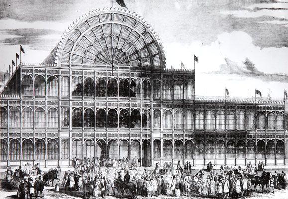 Great Exhibition building south front, 1851. Catalogue reference: WORK25/195