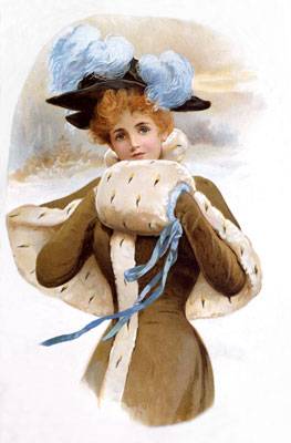 Lady with handwarmer. Catalogue reference: COPY 1/181 (183)