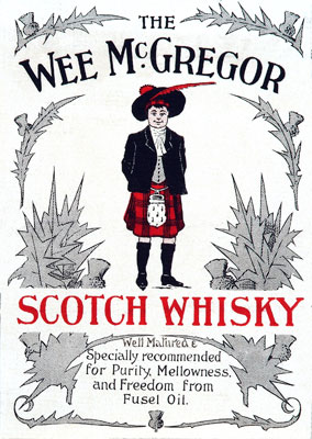 The Wee McGregor scotch whisky label, 1903. Catalogue reference: COPY 1/82 f14