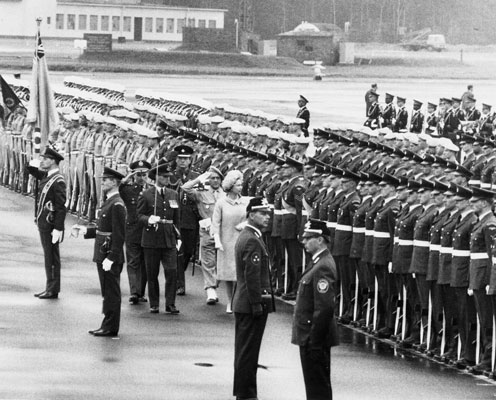 HM Queen Elizabeth II inspects guard of honour at RAF Gatow Berlin, 27 May 1965. Catalogue reference: AIR 28/1584