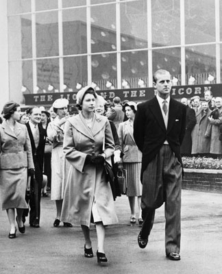 HRH Princess Elizabeth and Prince Philip at the Festival of Britain, 1951. Catalogue reference: WORK 25/207