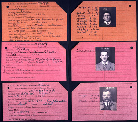 Seamen's record cards of Titanic crew survivors: Allen, Witter and Windebank. Catalogue reference: BT350