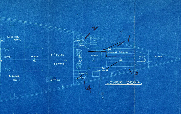 Titanic blueprint, lower deck