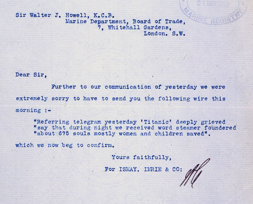 Letter confirming sinking of RMS Titanic 16 April 1912. Catalogue reference: MT9/920/C(327)