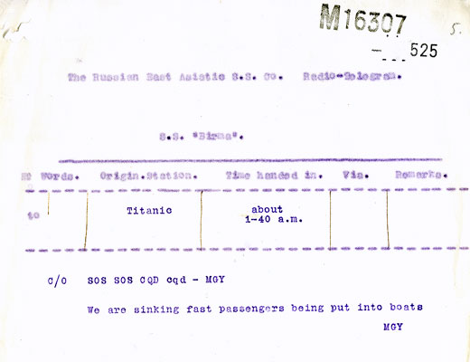 Telegram from RMS Titanic: Passengers being put into boats. Catalogue reference: MT9/920C (525)