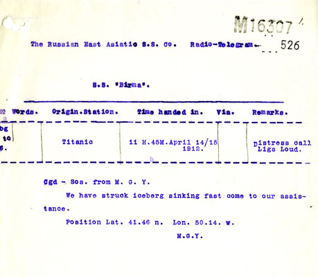 Telegram from RMS Titanic: We have struck iceberg. Catalogue reference: MT9/920C (526)