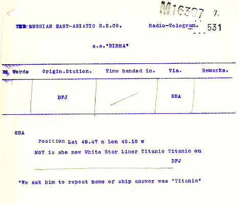 Telegram between SS Frankfurt and SS Birma confirming RMS Titanic's call sign. Catalogue reference: MT9/920C (531)