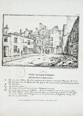 'View of Cato Street', print depicting the Cato Street conspirators' headquarters, 1820