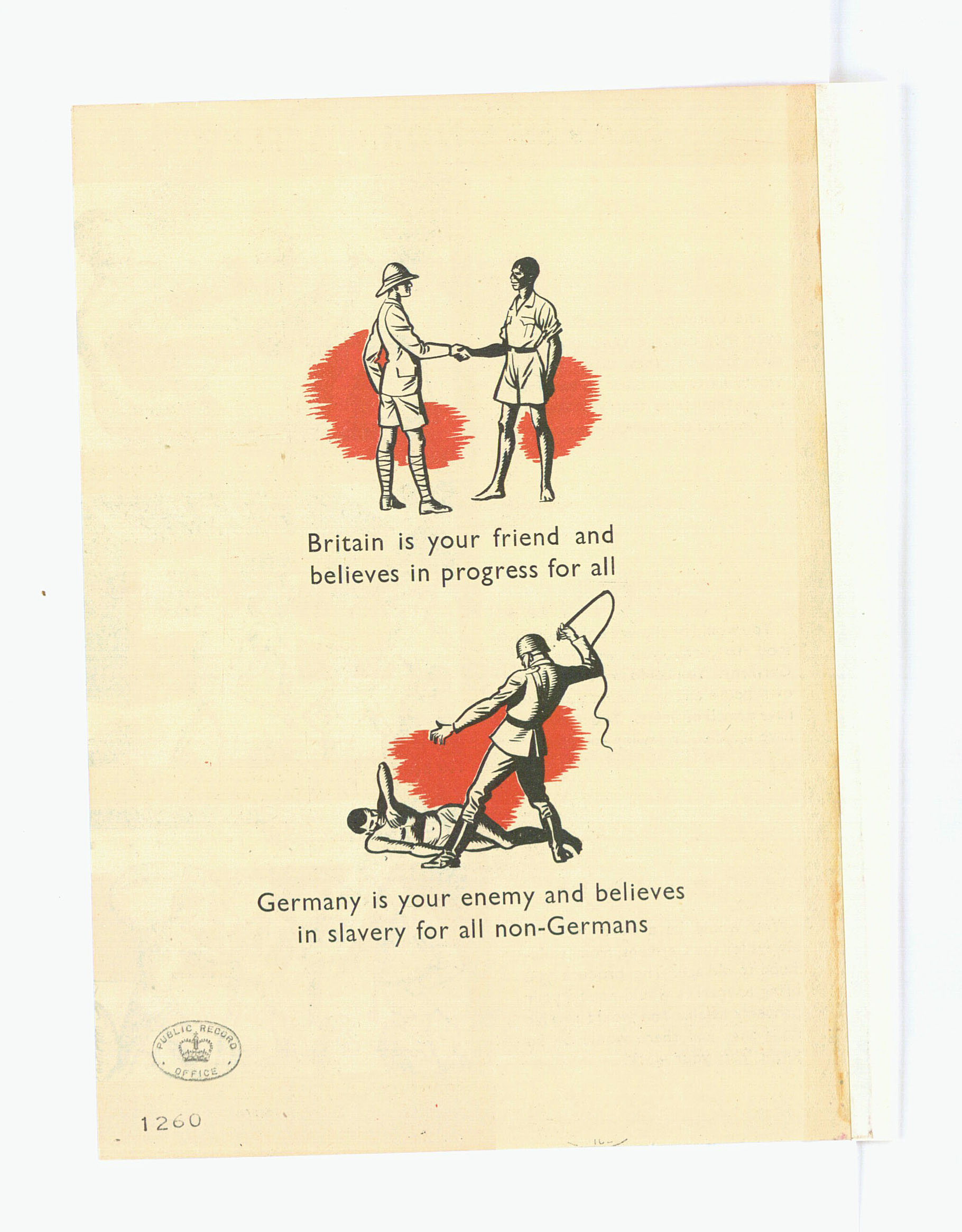 Detail from a propaganda leaflet designed for distribution in West Africa 1940's (INF 2/1 pt4)