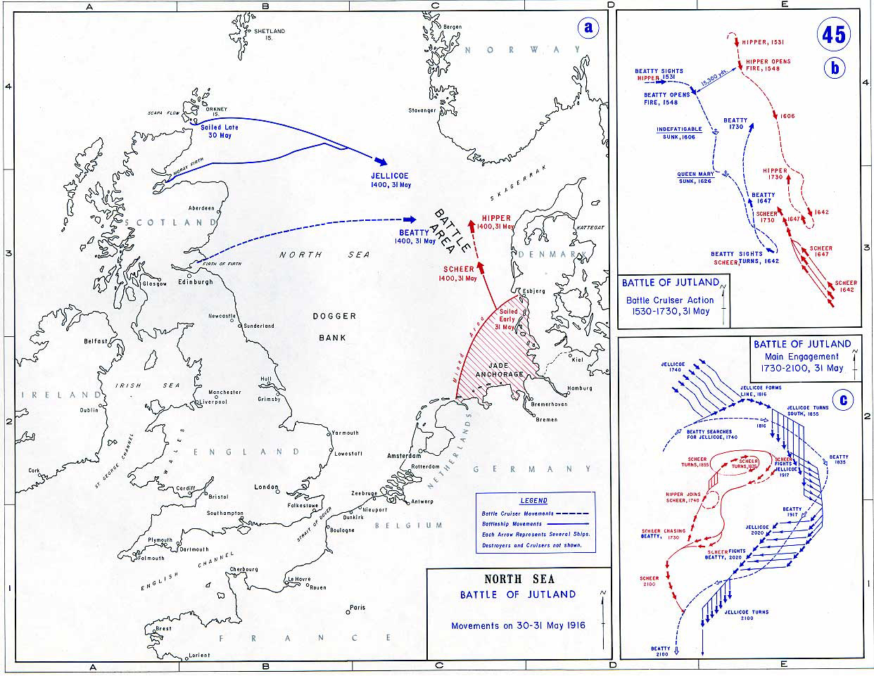 Map of the Battle of Jutland 1916