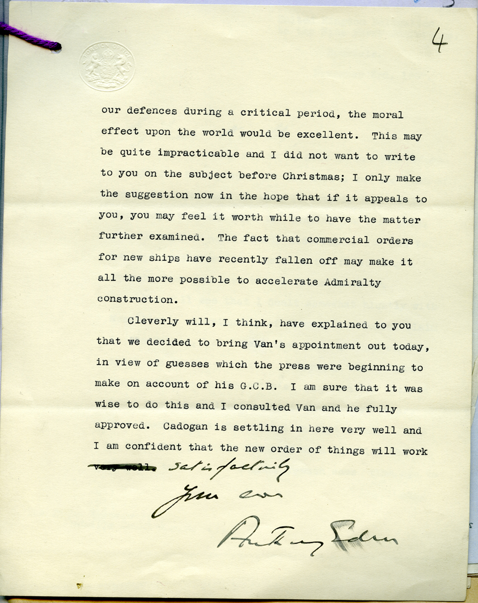 Letter from Anthony Eden to Neville Chamberlain, 1937 (PREM 1/210)