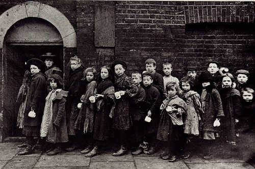 Children queuing for Salvation Army