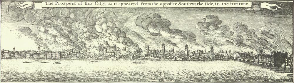 The Prospect of this City as it appeared from the opposite Southwark Side in the fire time (detail of ZMAP 4/18)