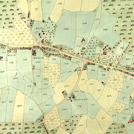 Part of the tithe map for Barnham in Sussex dated 1846.  The numbers link to information about landowners and occupiers - Catalogue reference IR 30/35/20.