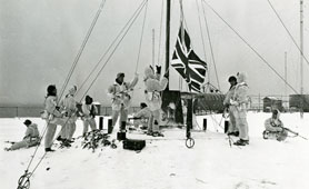 Marines hoist flag at Southern Thule 19 June 1982 (catalogue reference: ADM 202/903 (3))