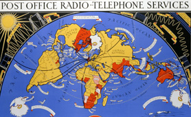 Publicity poster by McDonald Gill promoting the GPO international radio telephone service, 1935. (TCB-319-PRD0143) Image courtesy of BT Heritage